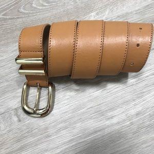 Chunky Leather Gold Buckel Belt Ann Taylor